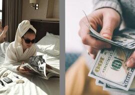Eine Frau im Hotel und Geld. Quelle: the-steppe.com