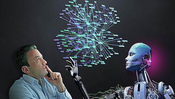 Der Mann und ein Roboter. Quelle: travelask