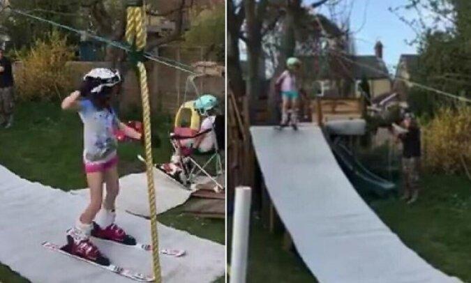 Ein Einwohner Englands arrangierte ein Skigebiet im Hof seines Hauses