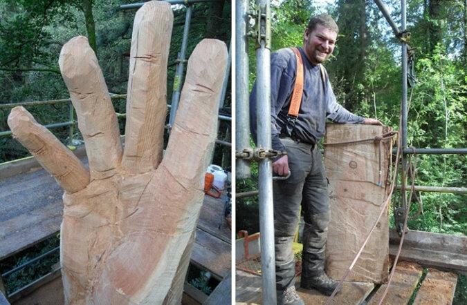 Der Bildhauer verwandelte einen vom Blitz getroffenen Baum in ein Kunstwerk, die Einzelheiten sind bekannt