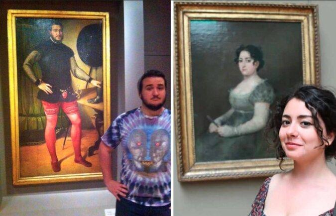 Museumsbesucher, die ihre Doppelgänger direkt auf den berühmten Leinwänden fanden