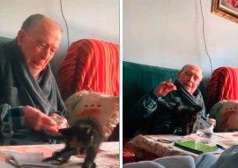 Älterer Mann und Kätzchen. Quelle: Screenshot YouTube