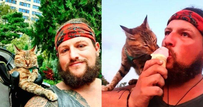 """""""In angenehmer Gesellschaft"""": Der Mann beschloss, die Erdkugel alleine zu überqueren, aber eine streunende Katze schloss sich ihm an"""