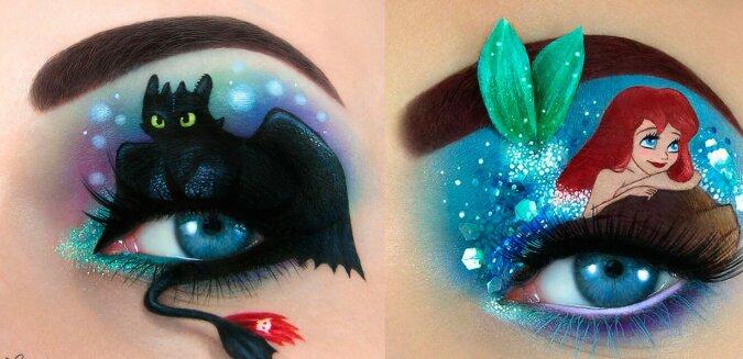"""""""Fabelhafte Augen"""": Die Make-up-Künstlerin kreiert mit Make-up magische Szenen auf den Augenlidern"""
