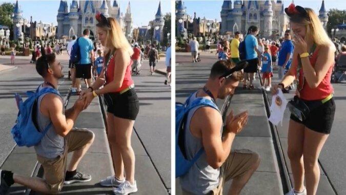 Ein Liebespaar freute einander mit Ehevorschlag und Babyankündigung zur gleichen Zeit im magischen Königreich von Disney World