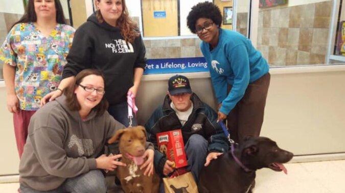 Hunde warteten in einem Tierheim auf ihren Besitzer, aber der Veteran hatte kein Geld, um sie zurückzukaufen
