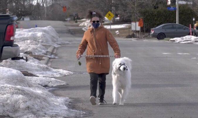 Der Hund mit der Besitzerin. Quelle: facebook
