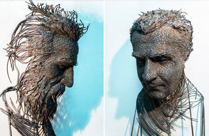 Einzigartige Skulpturen: Der Künstler schafft unglaubliche dreidimensionale Drahtporträts