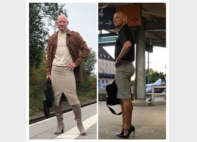 """""""Auf seiner eigenen Welle"""": Ein Mann trägt Röcke und Schuhe mit Absätzen und genießt das Leben"""