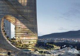 """""""Architektur der Zukunft"""": ein berühmter Designer, der vom Futurismus inspiriert war, zeigte das Modell neuer Wolkenkratzer"""