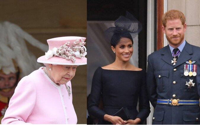 Königin, Prinz Harry und Meghan Markle. Quelle:dailymail.co.uk