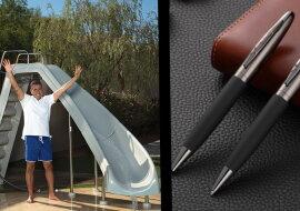 Ein Wasserrutschentester und Schreibstifte. Quelle: pinterest