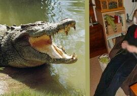 Eine alte Fraun und ein Krokodil. Quelle: travelask