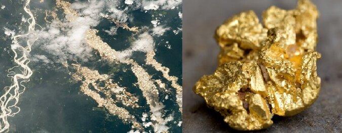 Wassergefüllte Goldsuchgruben. Quelle:dailymail.co.uk
