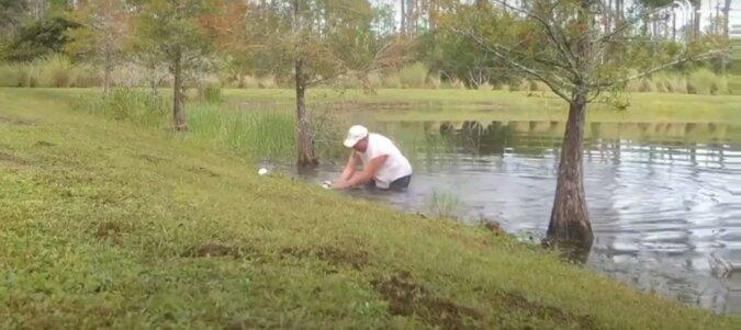 Der Mann rettet seinen Welpen. Quelle: Screenshot YouTube
