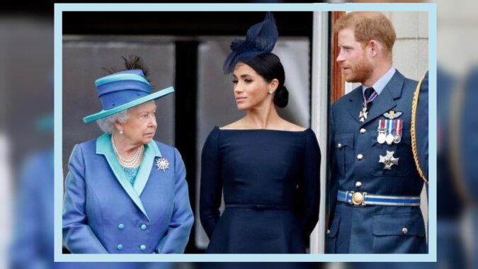 Die Königin, Prinz Harry und Megan. Quelle: elle.com