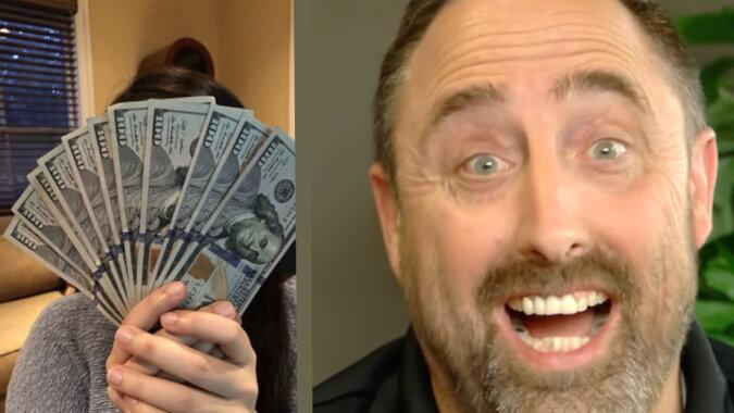 Der glückliche Mann und das Geld. Quelle: scallywagandvagabond