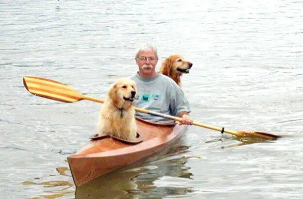 Der Mann baute ein spezielles Boot, um mit seinen Hunden zu reisen