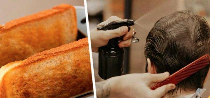 """""""Toastkontrolle für Haare"""": Die junge Frau hat einen interessanten Weg gefunden, um die Wirksamkeit von Haarschutzprodukten zu testen"""