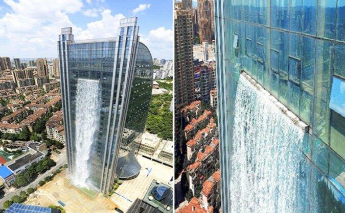 In China wurde ein Wolkenkratzer mit einem 100 Meter hohen Wasserfall gebaut