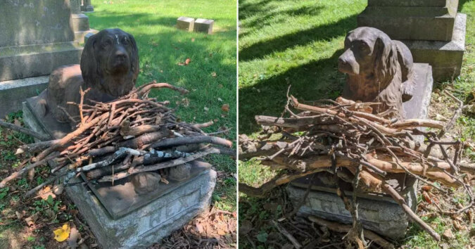 Die Geschichte eines Hundes namens Rex: Warum Leute auch nach 100 Jahren Zweige zu seinem Denkmal bringen