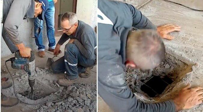 Leute hörten Weinen in dem Untergrund und forderten die Arbeiter auf, den Betonboden aufzubrechen
