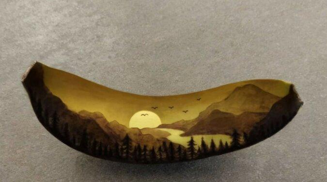 Kreative Kunst an der Bananenschale. Quelle: Instagram / banana_bruiser