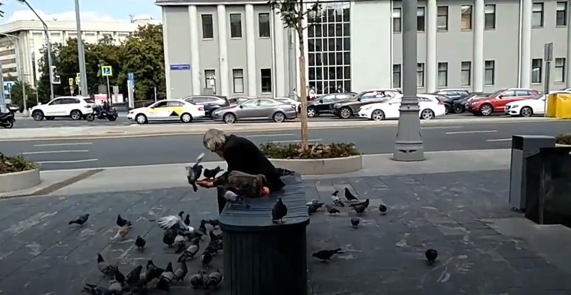 Der Mann war obdachlos und fütterte Tauben auf der Straße
